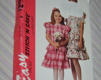 Stitch n Save 6915 Girls Dress Sewing Pattern - UNCUT - Sizes 7 8 10 12 -