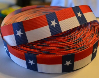 """USA Red White Blue Star 1"""" Grosgrain Ribbonfor Hair Bows, Kids Crafts, Scrapbook Deco, Cards Making, Gift Wrapping"""