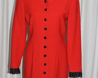 Vintage Red & Black Dress by Genny Wool Silk Made in Italy