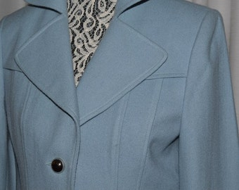 Vintage  Blue Wool Coat Double Breasted Pea Coa