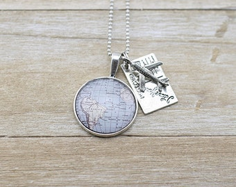 Small South America Map Plane and postcard Silver Charm Necklace - Wanderlust - South America Souvenir - Travel Gift - Australian Seller
