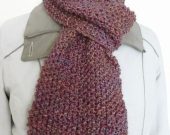 Multicolour hand knit scarf, purple scarf, long knit scarf, big scarf, acrylic Winter scarf, handmade scarf, ladies scarf, knitting scarf