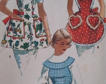 Vintage Simplicity 1359 Sewing Pattern One-Yard Aprons One Size 1960s Fashions