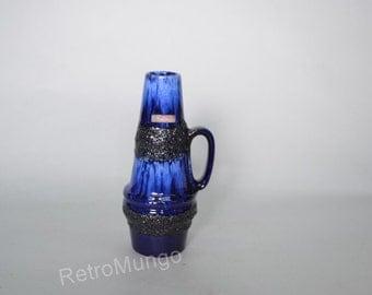 Fat  Lava Blue Scheurich vase West Germany - 400-22