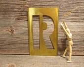 Brass Stencil R 8 1/2 Inch Brass Letter Monogram