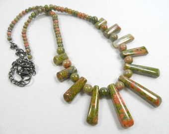 "Unakite Jasper Graduated Beaded Necklace with Gunmetal Finishes - 22"" length"