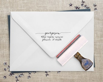 Calligraphy Address Stamp - Wedding Invitation Stamp - RSVP Stamp