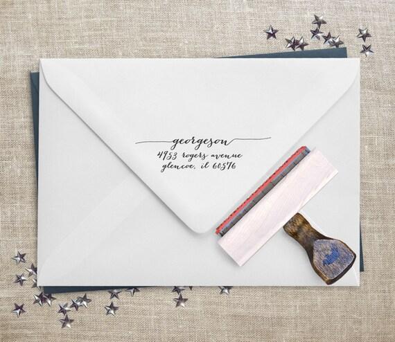 Calligraphy Address Stamp Wedding Invitation By Eastgrovestamp