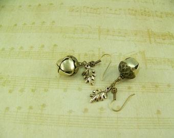 Acorn Earrings, Jingle Bell Earrings, Gold Acorn Earrings, Oak Leaf Earrings, Belgariad Earrings, Acorn bell Earrings, Ce'Nedra Earrings,