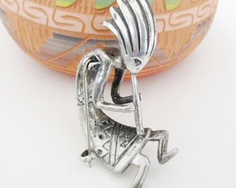Kokopelli Brooch Southwestern Jewelry Sterling Silver Vintage Womens Jewelry