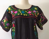 Embroidered Mexican Blouse Cotton Top In Black, Boho Blouse, Hippie Top Bohemian Style