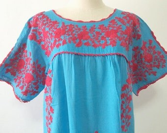 XL Mexican Embroidered Blouse Cotton Top In Blue Boho Blouse Hippie Top Bohemian Style