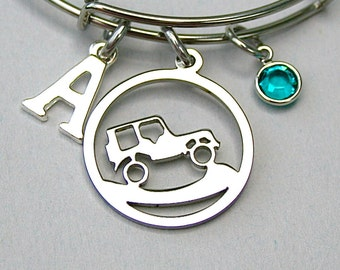 Off Road Vehicle Charm Bangle,  Stainless Steel Off Road Vehicle Charm Bracelet, Personalize with Initial,  Swarovski Birthstone