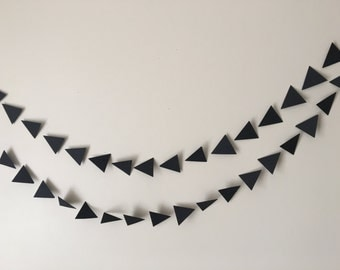 Black geometric triangle paper  garland, wedding garland, bridal and baby shower garland, party garland,