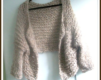 SWEATER WOMENS KNITTED Shrug Brown Oversized Women  Soft Pliable