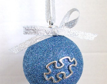 Free Shipping!! Autism Awareness Christmas Ornament Puzzle Piece Ornament Teacher/tutor Gift!