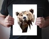 Geometric art, Geometric poster, Bear art, Geometric print, Bear geometric, Wild nature, Animal art, Modern art, Brown wall decor, A06 Bear