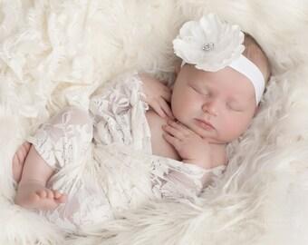 FREE SHIPPING! White Newborn Headband, Baby Headband, Flower Headbands, Christening Headbands, Baptism Headbands