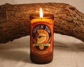 Beer Bottle Candle Upcycled from Shock Top Beer Bottle, Custom Made Candle