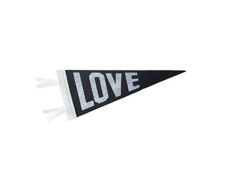 Mini Love Pennant- Single Flag for Save the Date, Ringer Bearer, Ceremony Attendant, Photo Booth prop