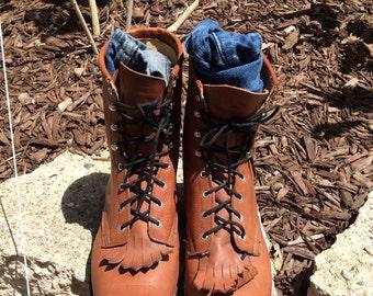 Laredo lace up roper with fringe tongue, sz 9.5 womens