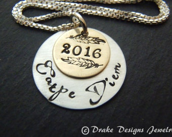 Sterling silver college graduation gift for her carpe diem necklace seize the day inspirational jewelry