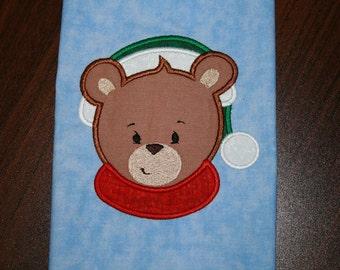 Christmas Faces 04 Bear Applique Design