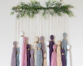 Rose Tassel Tapestry // Wall Hanging // Yarn Hanging // Ready to Ship