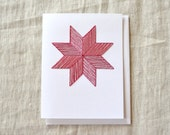 Folk Art Holiday Card - Red Eight Point Star
