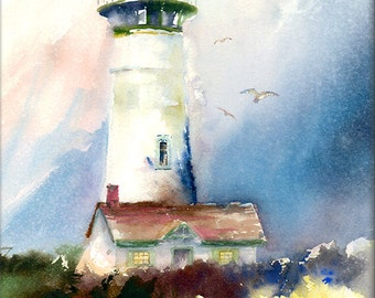 Newport Light- Yaquina Head Lighthouse Watercolor Wet on Wet Painting Print. Oregon Coast Art. Pacific Northwest Lighthouse. Blue. Green.