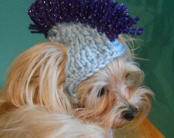 Crocheted Mohawk Cat Hat, Mohawk Dog Hat, Punk Rocker Cat  or Dog Hat, Halloween Costume