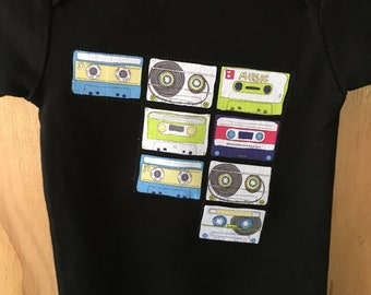 Organic Baby Onesie with Cassette Tapes Applique
