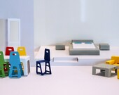 Paper Furniture set: Dinning Table and six Chairs,  Two Armchairs and coffee table, Modern bed