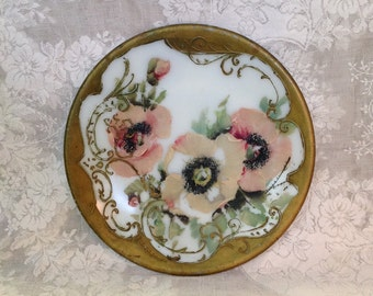 Antique handpainted milk glass plate decorative Victorian goofus floral embossed hand cold painted romantic shabby cottage chic home decor