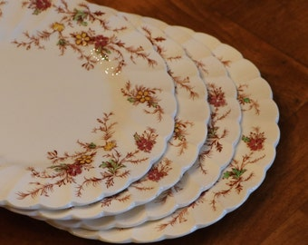 "Myott Staffordshire ""Heritage"" Set of Four Red and Yellow Floral Ironstone Bread or Dessert Plates, Swirl Edge Ironstone, Floral Ironstone"