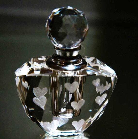 Hand Engraved Perfume Bottle, Oleg Cassini Crystal, Mini Perfume Bottle, Perfume Bottle, Hearts, vanity Tray, Perfume Tray, Crystal, Heart