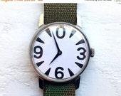 "SALE - Mens watch ,Soviet watch , Zero Watch , minimalist watch, Russian watch ,Mechanical watch ,black white watch,classic watch ""RAKETA"""