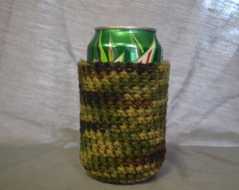 Camo Crochet - Can Cooler - Can Cozy - Can Holder - Can Cuddler - Beer Cozy - Drink Cozy - Beer Sleeve