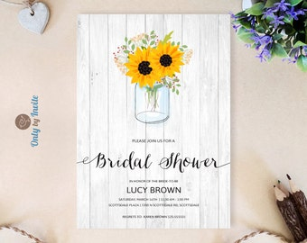mason jar and sunflower bridal shower invitations printed couples shower invitation rustic bridal shower