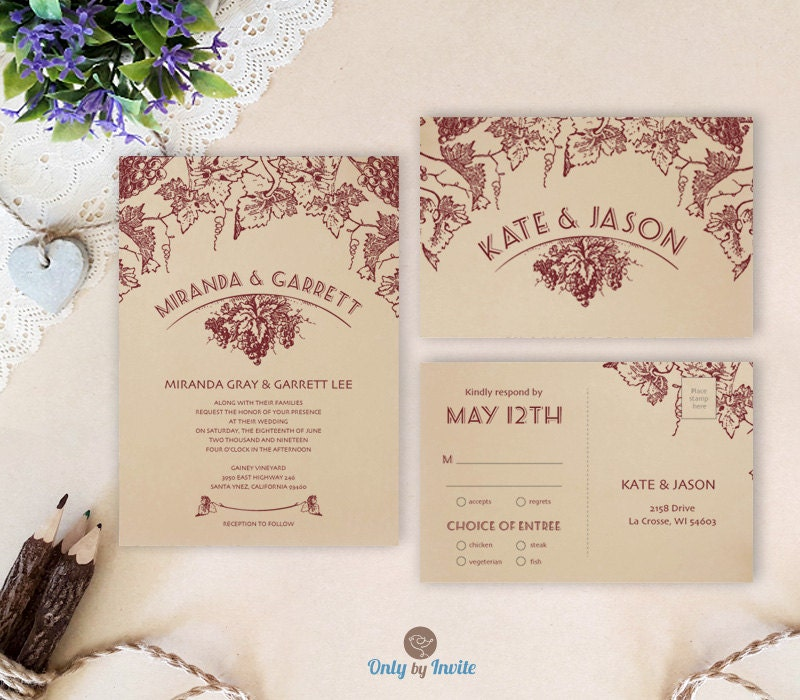 Vineyard Wedding Invitation Sets Winery Wedding By