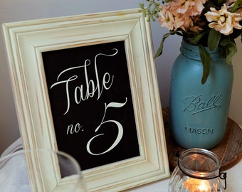 1-20 Instant Download - Chalkboard Classic Table Numbers in WHITE - Modern Design DIY, Wedding reception (1-20), Classic Wedding