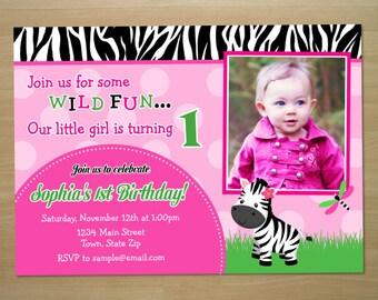 Zebra Girl 1st Birthday Invitation - Digital File (Printing Services Available)