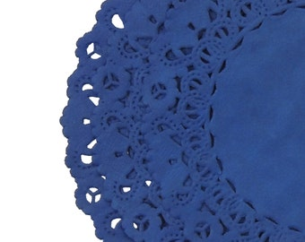 "ROYAL SAPPHIRE BLUE Paper Lace Doilies | 4"" 6"" 8"" 10"" 12"" 14"" Sizes 