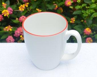 Vintage Corelle Mug - Porcelain Stoneware, White, Red Edge, Great Weight - 1970's - Fabulous!