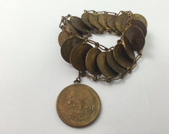 Vintage Coins Bracelet - Estados Unidos Mexianos - 17.5 - Coins 1936 to 1949 - Rare, Collectible!