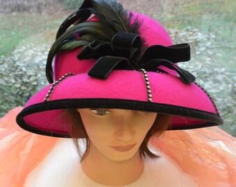 SALE!!! 1970's Dress Hat Pink - Millinery, Felt Wool, Black Accents - Vintage - Stunning!