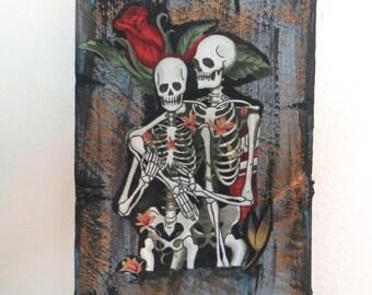 Skeleton, skeleton couple, skeleton wall hanging, skeleton collage,