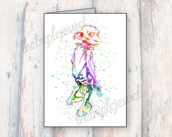 Dobby Note Cards, Greeting Cards, Harry Potter, Birthday Card, Gift, Special Occasion, Watercolor, Splatter, Geekery, Fandom, Nerdy, Fangirl