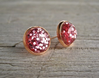 Studs, Glimmer, Cabochon, rose, rose gold, glass, romantic, simple