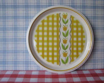 Mikasa Dinner Plate - Country Gingham - Retro Dinnerware - Maize C 7301 -  Vintage 1970's